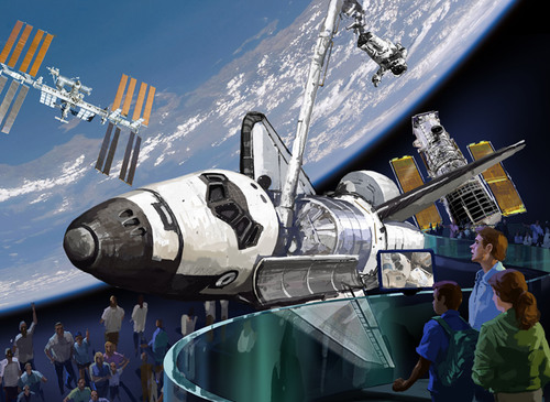 "A peak into the future of Kennedy Space Center Visitor Complex in Florida. Visitor Complex officials hope to be selected by NASA to display a retired space shuttle orbiter. This initial concept design for a new orbiter exhibit showcases the space shuttle as it appears ""in flight.""    (PRNewsFoto/Kennedy Space Center Visitor Complex)"