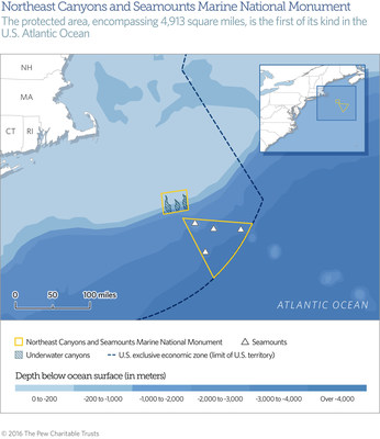 A map of the first marine national monument in the U.S. Atlantic Ocean--the 4,913-square-mile Northeast Canyons and Seamounts Marine National Monument.