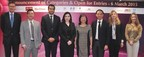 (From left) James Courage, Chief Executive Officer of Platinum Guild International; Liu Zheng, Deputy General Manager of GDLAND; Rishi Parikh of Diarough; Rita Maltez, Director of Rio Tinto Diamond's Greater China Representative Office; Letitia Chow, Founder of JNA and Director of Business Development - Jewellery Group of UBM Asia; Kent Wong, Managing Director of Chow Tai Fook; Noa Pardo, Managing Director of IDI Asia Pacific; and Helen Molesworth, Managing Director of Gubelin Academy
