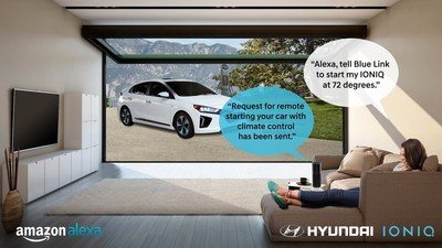 Fountain Valley, Calif., Nov. 15, 2016 - Hyundai becomes the first mainstream automaker to connect cars with homes using Amazon Echo and its new Blue Link skill for Amazon Alexa.