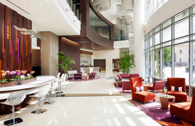 Courtyard and Residence Inn L.A. LIVE Hotel Lobby (PRNewsFoto/Marriott International, Inc.)