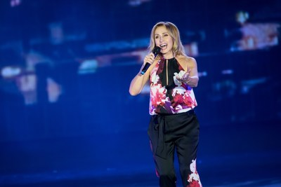 Multi-award-winning Belgian singer Lara Fabian performs at the grand opening ceremony of The Parisian Macao Tuesday.