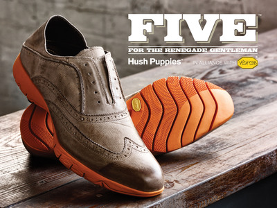 FIVE - introducing the perfect union of Hush Puppies authentic style and Vibram high performance and maximum comfort.  (PRNewsFoto/Hush Puppies)