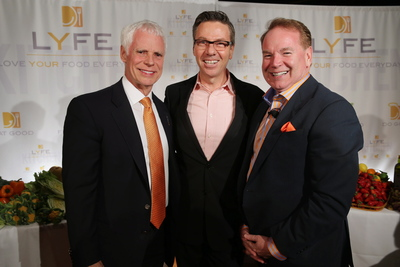 LYFE Kitchen Founders, Mike Roberts, Steve Sidwell and Mike Donahue celebrate the second LYFE Kitchen restaurant opening in Culver City, Calif., on Friday, March 8, where they honored their local partners and farmers.  (PRNewsFoto/LYFE Kitchen)