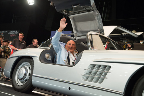 With Sales Exceeding $113 Million, Setting Company Record and Breaking World Records, Sir Stirling Moss, in 1955 300SL Gullwing, Crosses the Block in Third-Highest Selling Car at Barrett-Jackson 43rd Annual Scottsdale Auction. (PRNewsFoto/Barrett-Jackson) (PRNewsFoto/BARRETT-JACKSON)