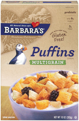 Barbara's Introduces New Gluten-Free Puffins Multigrain Cereal. Let's Raise Our Spoons to All-Natural, Gluten-Free Foods in Honor of National Celiac Disease Awareness Month.  (PRNewsFoto/Barbara's Bakery)