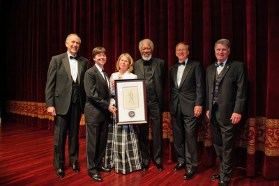 Bill Couper, President of Bank of America Mid-Atlantic; awardee Ken Burns; Foundation Executive Director Thora Colot; Gala chair Morgan Freeman; Foundation Chairman and President Ken Lore; and Archivist of the United States David S. Ferriero.  (PRNewsFoto/Foundation for the National Archives)