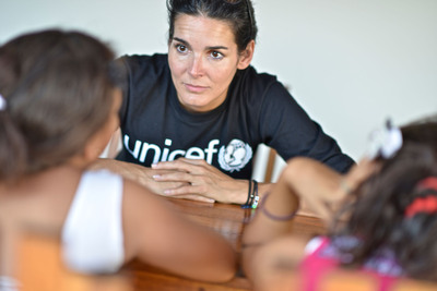 UNICEF Ambassador Angie Harmon meets with two eleven year old girls who have experienced sexual abuse. (PRNewsFoto/U.S. Fund for UNICEF, Kike Calvo / Courtesy of the U.S. Fund for UNICEF)