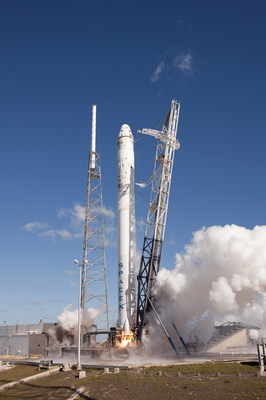 The SpaceX Falcon 9 carrying a Dragon Capsule containing the bisulfite converted DNA from the EZ DNA Methylation Lightning(TM) Kit from Zymo Research Corporation. Photo courtesy of NASA.