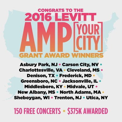 Congrats to the 2016 Levitt AMP winners, transforming neglected public spaces through FREE concerts!