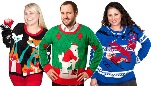 The Ugly Holiday Sweater Collection from Stupid.com.  (PRNewsFoto/Stupid.com)