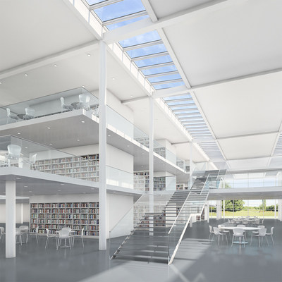 VELUX Modular Skylights, designed in cooperation with architects from London-based Foster + Partners, integrate ventilation and sun screening components within the skylight design.