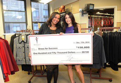 Skinnygirl(R) Cocktails, the industry leader in premium, great-tasting low-calorie cocktails, and the original Skinnygirl Bethenny Frankel got into the holiday spirit by donating $150,000 to Dress for Success(R), accepted by Joi Gordon, CEO, Dress for Success, an international not-for-profit organization that promotes the economic independence of disadvantaged women on Wednesday, Dec. 17, 2014 in New York. (Photo by Diane Bondareff / Invision for Skinnygirl(R) Cocktails / AP Images)
