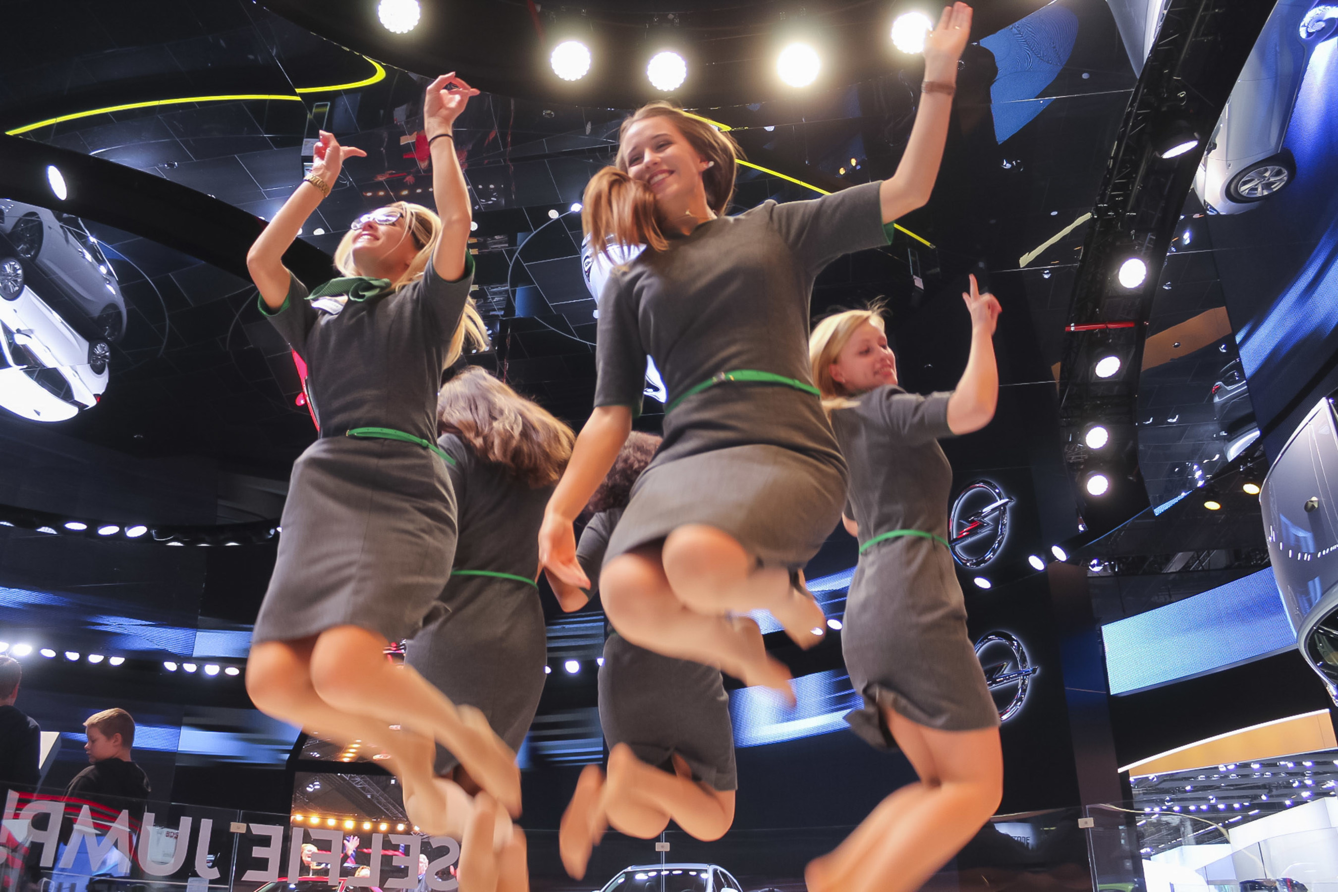 Opel Captured IAA 2015 Visitors Jumping with PRG