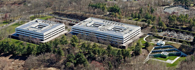 An aerial view of GE's former global headquarters in Fairfield, Conn.