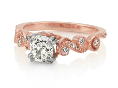 Shane Co. Rose Gold Engagement Ring with Round Center Diamond - Seven Engagement Rings Christmas 2016 (Article number 41076407)