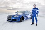 Test driver Janne Laitinen. The new world record for fastest car on ice was achieved by Nokian Tyres, when test driver Janne Laitinen drove at a speed of 335.713 kilometres per hour (208.602 mph) on the ice of the Gulf of Bothnia on 9 March. Grip and speed like never before were ensured by the new spearhead product for the world's leading manufacturer of winter tyres – the Nokian Hakkapeliitta 8 studded tyre. More: www.nokiantyres.com/Fastest-On-Ice