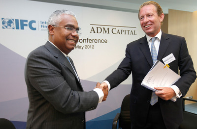 Serge Devieux IFC Director for Financial Markets Asia and Christopher Botsford, CEO of ADM Capital have joined the press conference on 21 May 2012.  (PRNewsFoto/ADM Capital; IFC)