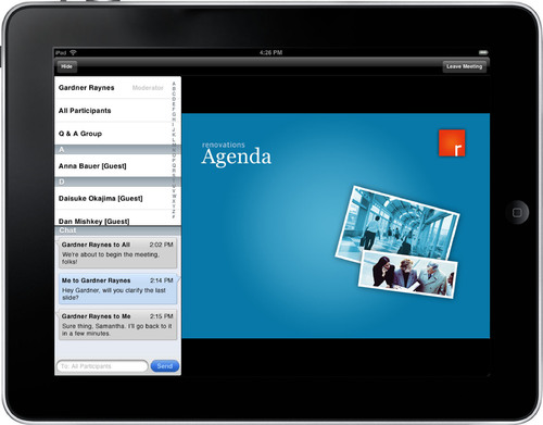 A new app that works with IBM's LotusLive cloud-based collaboration service allows users to participate in online meetings from iPad devices.  (PRNewsFoto/IBM)