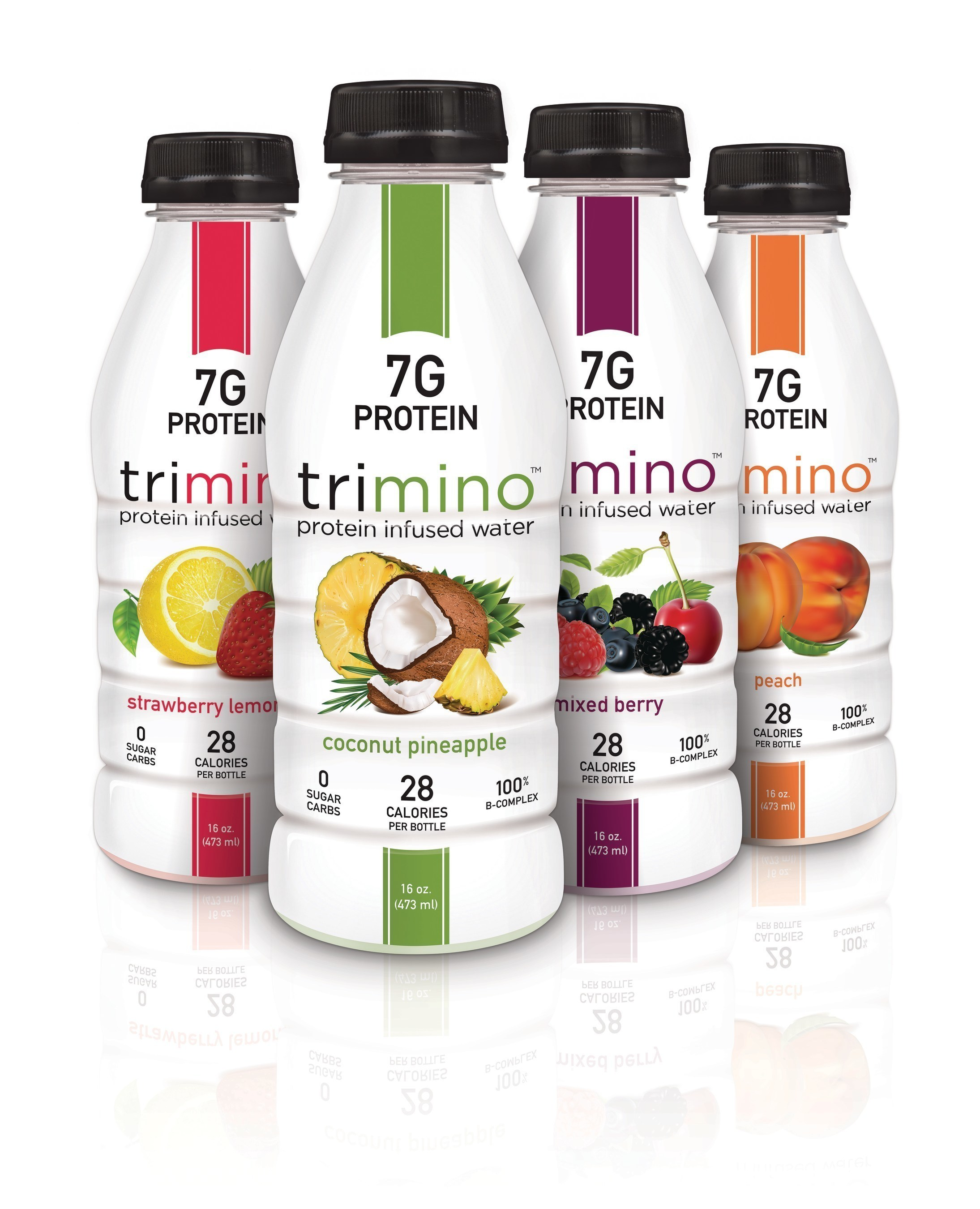 "trimino protein-infused water ""Beats Water, Everyday"" with 7gs of whey protein, B-complex vitamins, 0 sugar, 0 carbs and only 28 calories. trimino is available in 4 flavors and simply delicious."