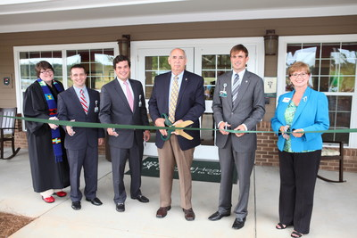 Pictured at the PruittHealth - Union Pointe ribbon cutting ceremony (L to R): Corporate Chaplain Wanda Burton-Crutchfield, Administrator John Laurenzana, Chief Development Officer Nick Williams, Mayor Bobby Kilgore, Chairman & C.E.O. Neil L. Pruitt, Jr., and Union County Chamber of Commerce President Pat Kahle.