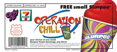 "Some 600 law enforcement agencies will ""ticket"" youngsters caught doing good deeds with an Operation Chill coupon. Each coupon is good for a free Slurpee drink at a participating 7-Eleven store.  (PRNewsFoto/7-Eleven, Inc.)"