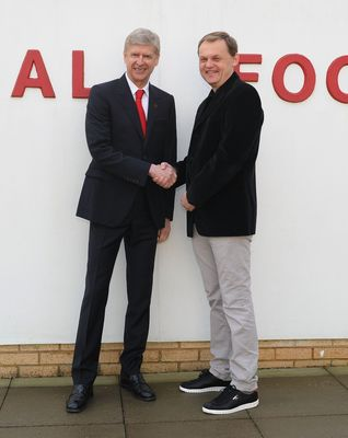 London - 27 January 2014: Bjoern Gulden CEO of PUMA and Arsène Wenger Arsenal FC Manager, confirm a new long term partnership