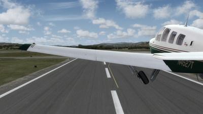 Pilot takes off in a Beechcraft A36 Bonanza in Prepar3D version 3.