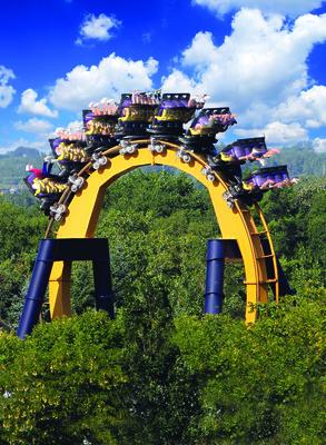 BATMAN The Ride backwards at Six Flags Great America in Gurnee, Illinois