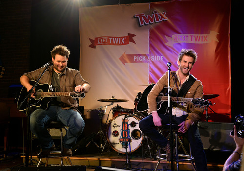 Zach Swon (L) and Colton Swon of The Swon Brothers perform onstage at the TWIX Pick A Side Sing-Off with the Swon Brothers at B.B. King's Blues Club in Nashville, Tenn. (PRNewsFoto/Mars Chocolate North America)
