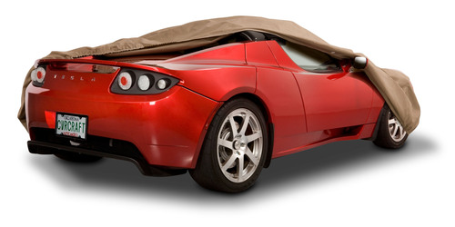 Tesla Roadster with Covercraft car cover from CarCoversDirect.com. (PRNewsFoto/Covers Direct) (PRNewsFoto/COVERS DIRECT)