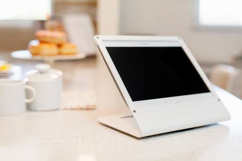 The Heckler Design WindFall Stand for the Galaxy Tab 3 10.1 in sky white offers a secure, modern solution. (PRNewsFoto/Heckler Design) (PRNewsFoto/HECKLER DESIGN)