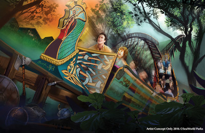 A new wooden roller coaster, InvadR, will join Busch Gardens Williamsburg's collection of world-class thrill rides, launching spring 2017.  The family thriller will be the park's first wooden coaster and eighth roller coaster in total.  Exciting ride elements include a more than 70-foot-drop and nine airtime hills, and will thrill adults and kids alike as they travel more than 2,100 feet through wooded terrain and underground through a tunnel. Credit: Artist Concept Only - 2016 (C)SeaWorld Parks