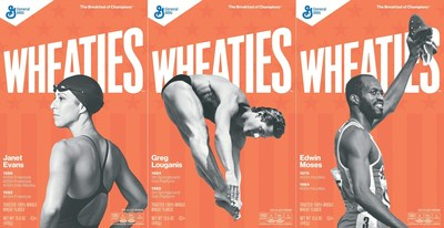 Janet Evans, Greg Louganis, and Edwin Moses will be honored with their own Wheaties Legends boxes in May 2016.
