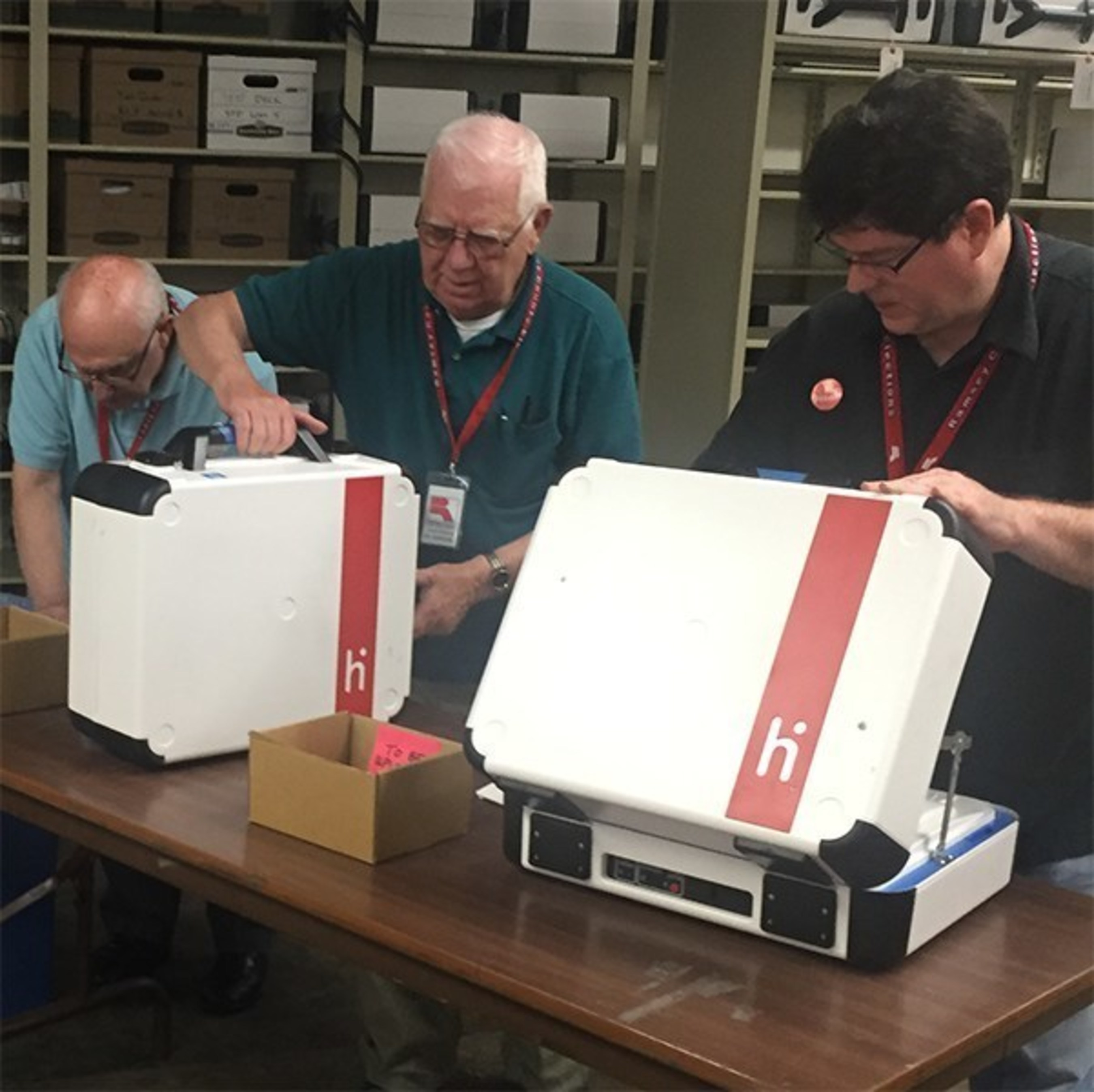 At the end of Election Day, locked and sealed Verity ballot counters are returned to Ramsey County headquarters to be opened by supervised elections staff.