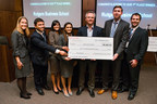 Rutgers MBA students Paul Rosiak, Michael Kwatkoski, Sonal Patel, Mittal Shah and Kinushuk Saxena are joined by Sharon Lydon, executive director of the Rutgers MBA Program, (far left) and Michael Barnett, vice dean for academic programs (center). The students won first place in the annual Rutgers biopharmaceutical case competition.