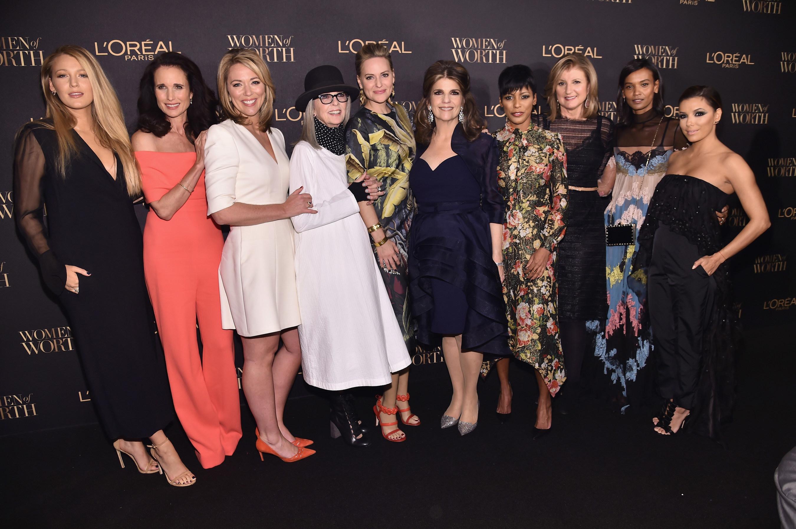 Karen T. Fondu and the 2016 L'Oreal Paris Women of Worth Honoree Presenters
