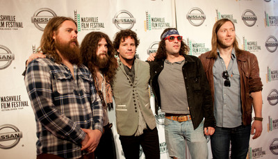 Beware of the Dogs director, Kennedy (center) with The Sheepdogs (L-R) Ewan Currie, Ryan Gullen, Leot Hanson and Sam Corbett and Nashville Film Festival for the film's debut.