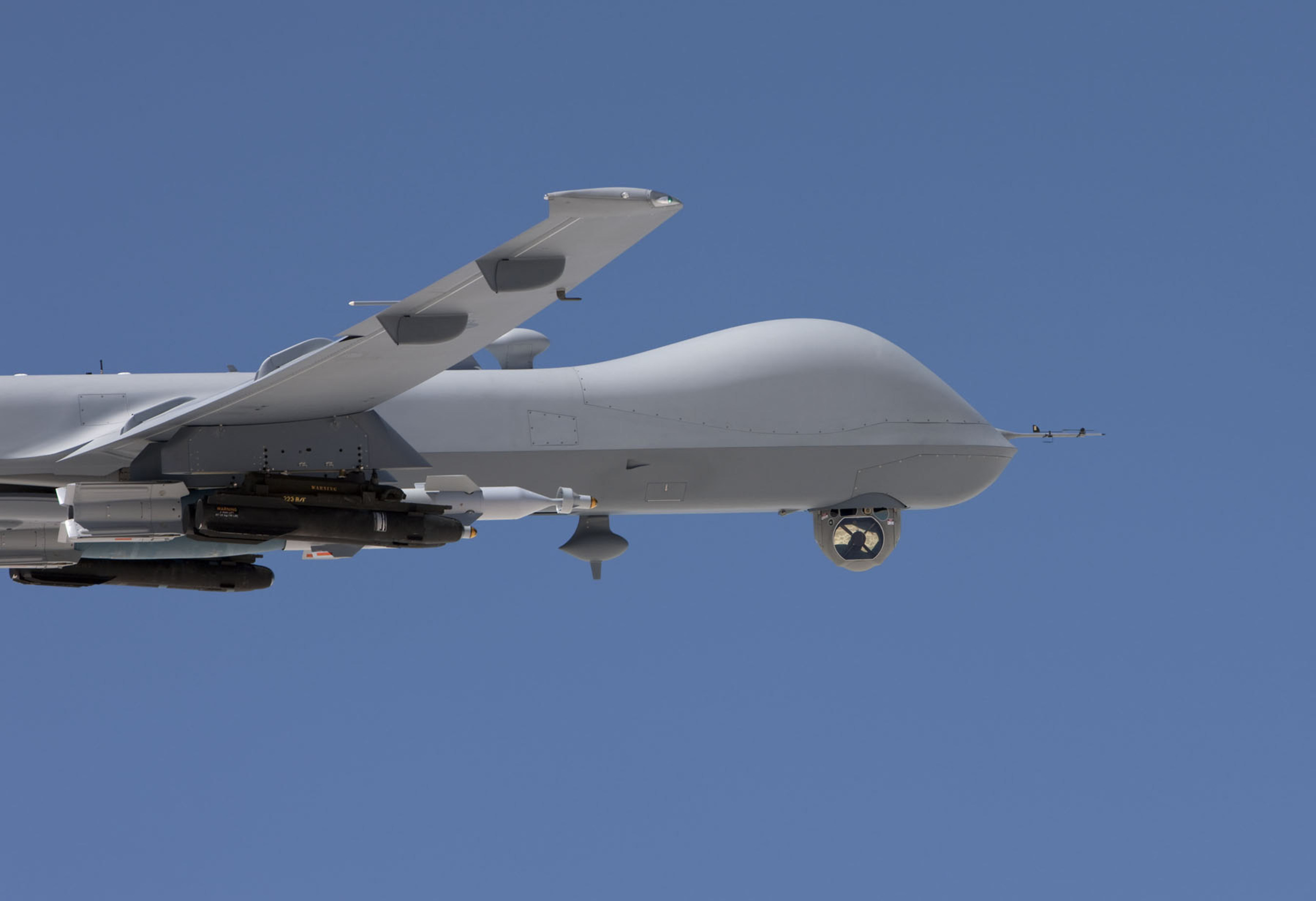 The U.S. Air Force has awarded Raytheon a first-lot production contract for the AN/DAS-4 EO/IR Turret, shown here deployed on the MQ-9 Reaper.