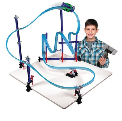 Lionel introduces Mega Tracks, a revolutionary rail system where kids can design and build their own race courses, at the North American International Toy Fair in New York City.