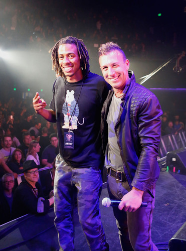 Guitar Center Drum Off Winner Dawud Aasiya-Bey with host Stephen Perkins (Jane's Addiction).  (PRNewsFoto/Guitar Center)