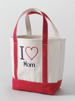 "The new ""I HEART"" Canvas Tote from Lands' End can be monogrammed with up to ten characters underneath the ""I HEART"" logo. Whether a personal name, pet's name or a favorite pastime, the ""I HEART"" Tote makes for a thoughtful, one-of-a-kind Mother's Day gift. Starting at $29.50.  (PRNewsFoto/Lands' End)"