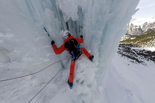Ice climbing involves the use of ice tools and crampons to climb frozen waterfalls and icicles. Mammut Pro Team  ...