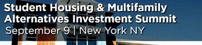 200-300 to Gather for Student Housing & Multifamily Alternatives Investment Summit, September 9, New York.  (PRNewsFoto/CapRate Events, LLC)