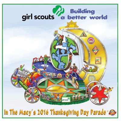 "To spotlight how Girl Scouts are ""building a better world,"" the float concept showcases girls climbing and belaying on giant 3-D puzzle pieces of the globe, while others are steering mechanics to help connect the pieces and propel the world forward."