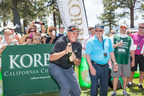 """On July 16, the American Century Celebrity Golf Championship in beautiful Lake Tahoe was the backdrop of the ninth annual """"Korbel Celebrity Spray-Off"""" where Former NFL Pro Bowl Quarterback Mark Rypien took home the championship and $5,000 from the Korbel Toast Life(R) Foundation for the charity of his choice. Rypien took home top honors after he popped the cork on a bottle of Korbel and it traveled the furthest distance - 87ft."""
