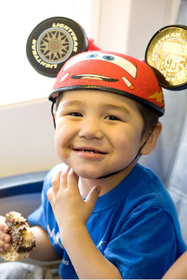 Steve Hopson, age 3, from Barrow, Alaska is battling Ewing's Sarcoma, a form of cancer. Steve is looking forward to meeting his favorite Disney characters Mickey Mouse and Lightning McQueen. (PRNewsFoto/Alaska Airlines) (PRNewsFoto/ALASKA AIRLINES)