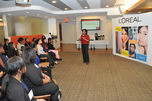 Antoinette Hamilton, Assistant Vice President of Diversity and Inclusion at L'Oreal USA, addresses the New ...