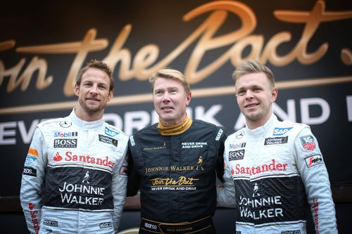 Former Formula 1 driver and JOHNNIE WALKER Global Responsible Drinking Ambassador, Mika Hakkinen, came together with Formula 1 drivers Jenson Button and Kevin Magnussen to help launch a JOHNNIE WALKER responsible drinking initiative for the festive season, to give 250,000 kilometres of safe rides home as part of Join the Pact (PRNewsFoto/Johnnie Walker)