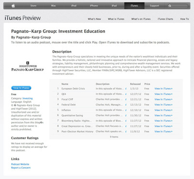 HighTower's Pagnato-Karp Group: Investment Education podcast series on iTunes